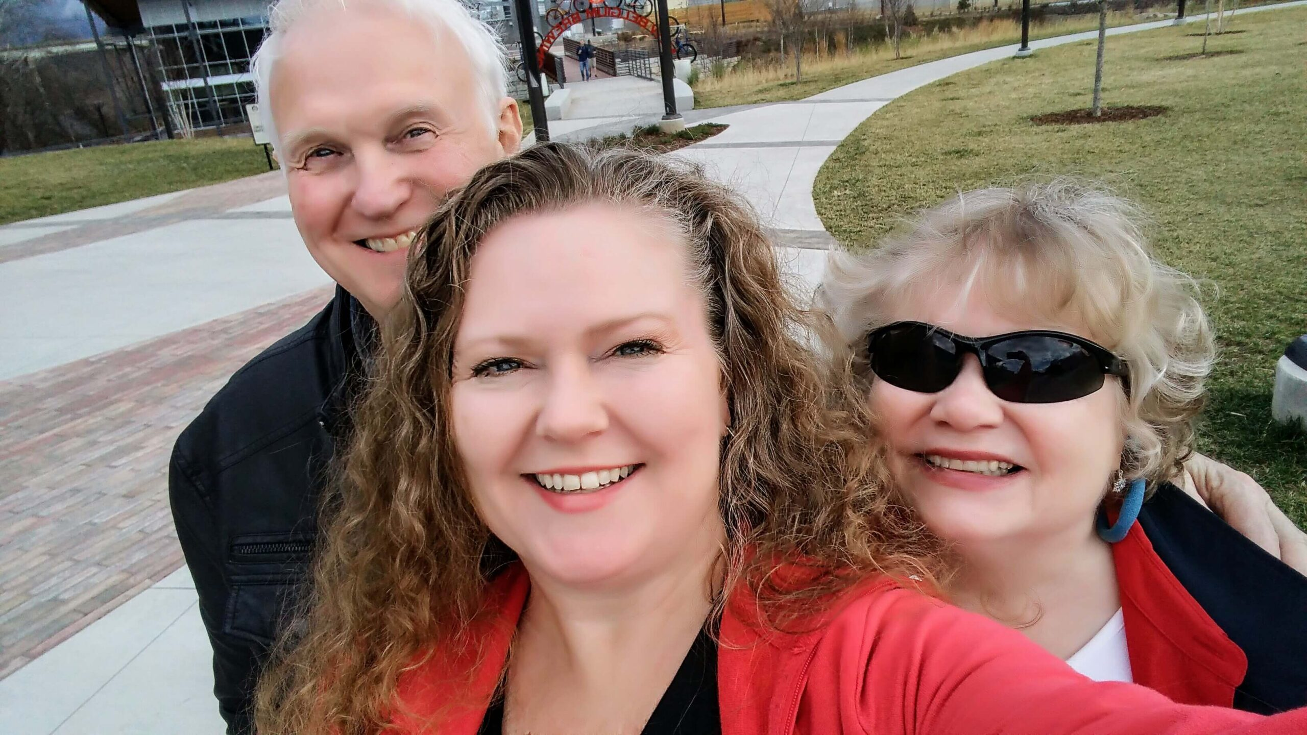 Theresa with mom and dad in Asheville, 2016